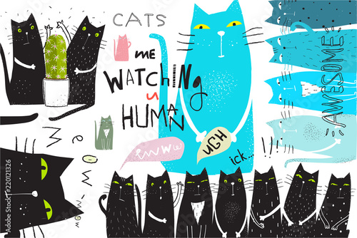 Cats animals collage hand drawn graphic design.