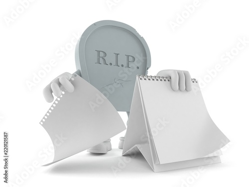 Photo Grave character with blank calendar
