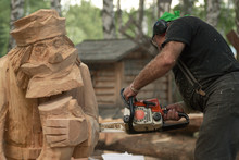 Woodcarver Make His Sculpture ...