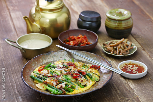 pajeon, seafood scallion pancake, korean food
