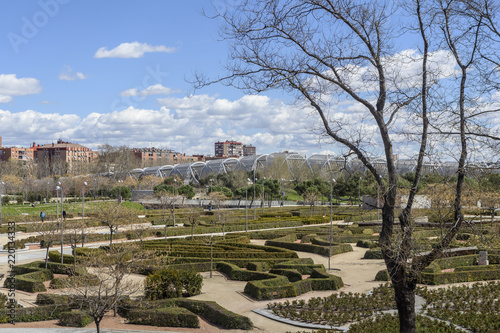 view of the Manzanares River Park in Madrid, Spain. Canvas Print