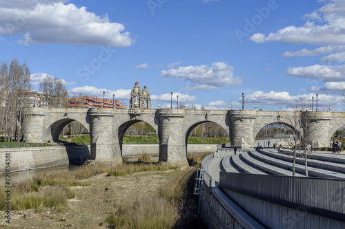 Photo view of the Manzanares River Park in Madrid, Spain.