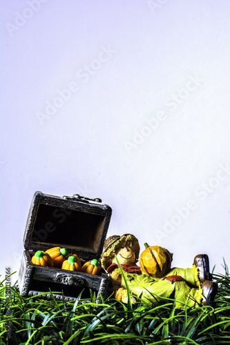 Fotografie, Obraz  vertical of scarecrow figurine laying in green grass against wood chest full of