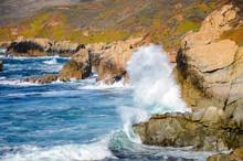 Huge Wave Breaking On Cliffs A...