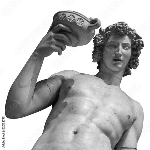 Papiers peints Con. ancienne Dionysus Bacchus Wine statue portrait isolated on white