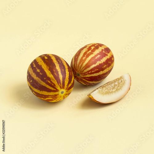 Mini melons with striped skin like watermelon
