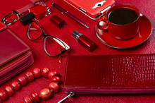 Woman Red Accessories With Cof...