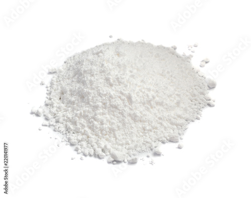 Fotografering White Powder of Gypsum, Clay or Diatomite Isolated on Grey Background