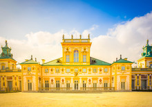 Facade Of Wilanow Palace In Warsaw, Poland, Retro Toned