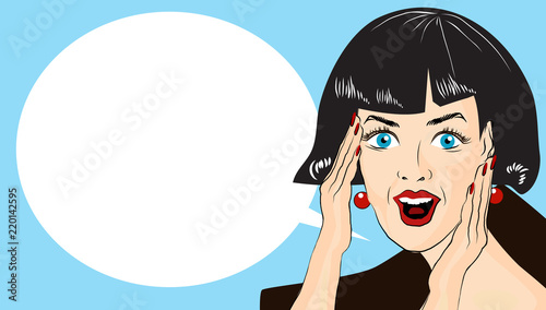 Fotobehang Pop Art WOW bubble pop art. Surprised woman with opend mouth. Vintage comic poster with a girl. Pop Art illustration of a woman with the speech bubble. Copyspace