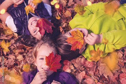 Fotografie, Obraz  chrildren in autumn leaf sunny