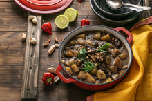 Beef And Potato Stew In Pot, Asian Cuisine, Copy Space