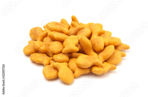Valokuva  FIsh Shaped Cheese Crackers on a White Background