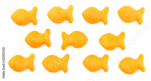 FIsh Shaped Cheese Crackers on a White Background Wallpaper Mural