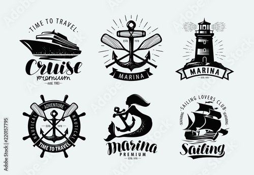 Fotografering Marina, sailing, cruise logo or label
