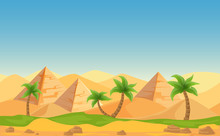 Egyptian Pyramids With Palms I...