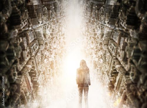 Cuadros en Lienzo Woman standing in divide between sideways cities