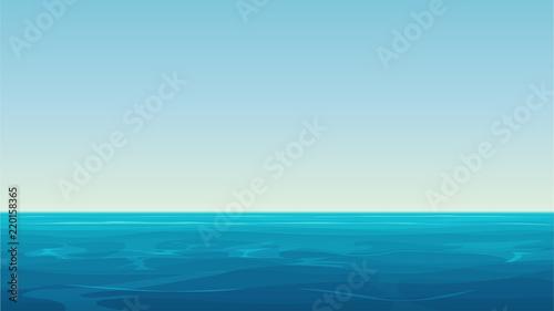 Fototapeta Vector Realistic cartoon vector empty blue ocean sea and sky landscape. obraz