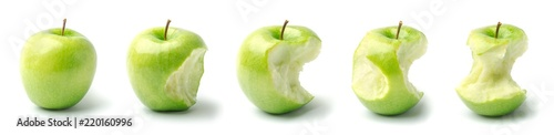 Photo Timeline of an Apple from Whole to Eaten