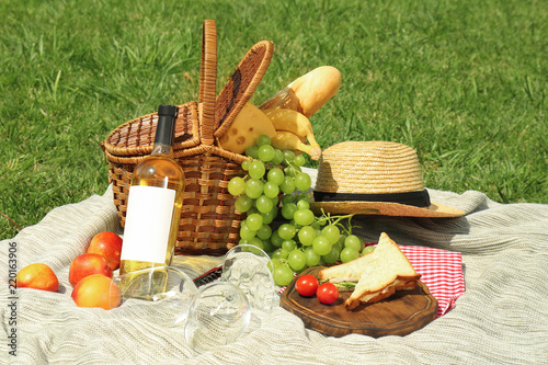Basket with food and straw hat on blanket in park. Summer picnic