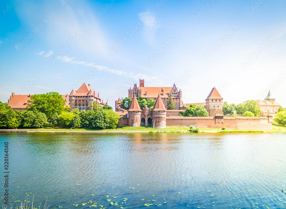 Fototapety, obrazy: medieval castle of Teutonic Knights in Malbork, Poland, retro toned