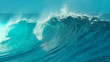 canvas print picture - CLOSE UP: Glimmering barrel wave rushes past the camera on a sunny day in Tahiti