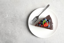 Plate With Slice Of Chocolate ...