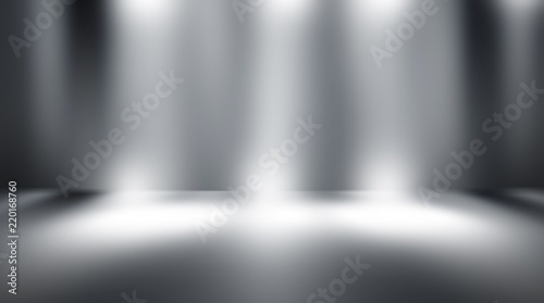 Fototapety, obrazy: perspective floor backdrop black room studio with gray gradient spotlight backdrop background for display your product or artwork