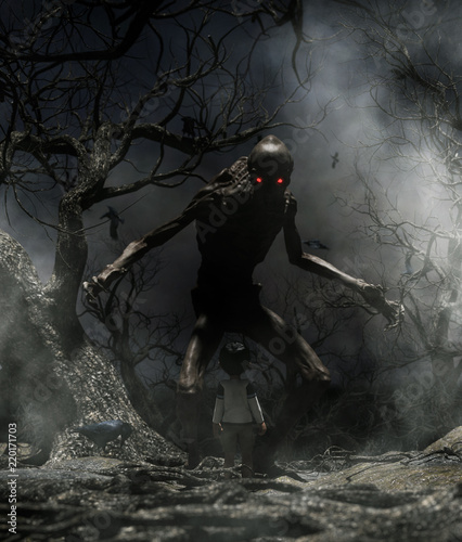 Fotografie, Tablou Nightmare with bogeyman,Boy enter to the haunted forest in his dream and discove