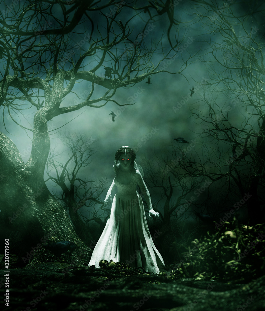 Fototapeta Ghost bride in creepy forest,3d illustration for book illustration or book cover