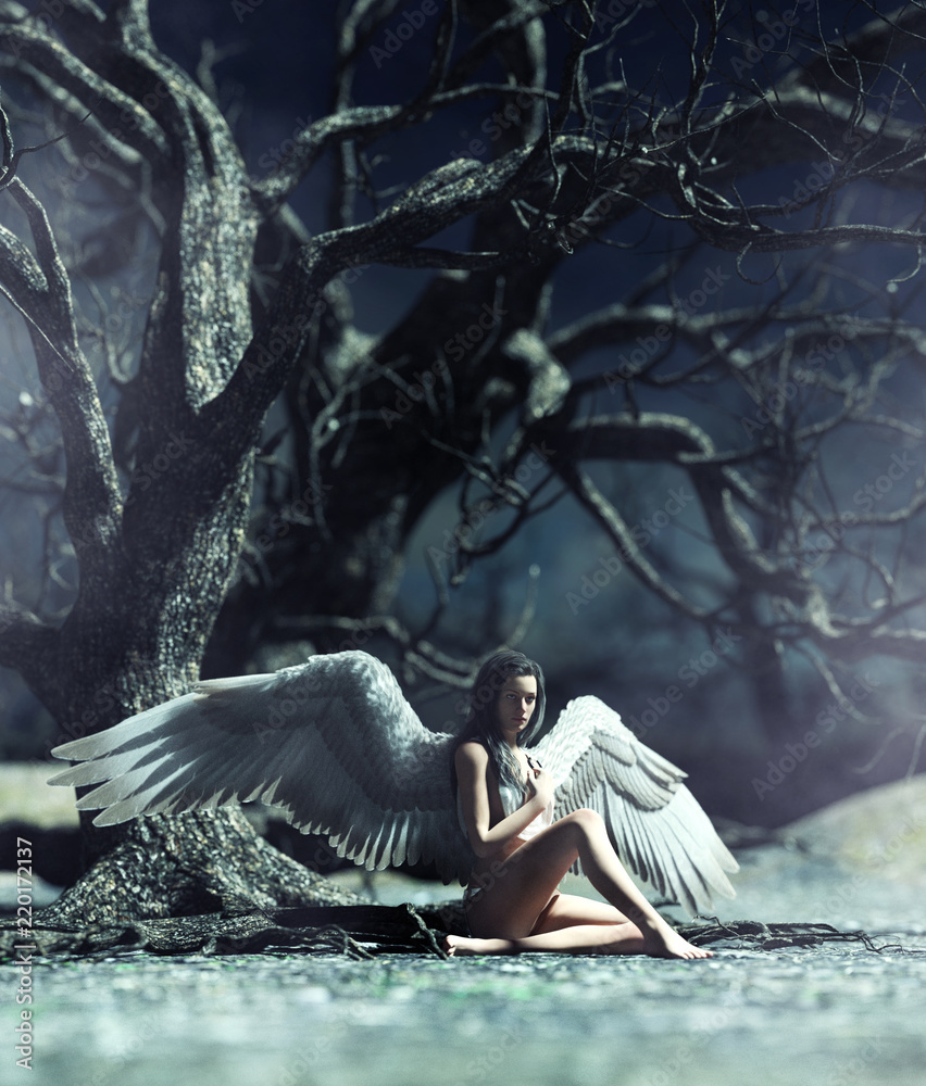 Fototapeta An angel in mystical forest,3d illustration for book illustration or book cover