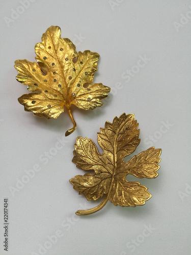 Fotografia A set of gold leaf brooch