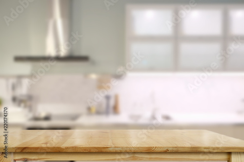 Empty top table for product or food montage with modern kitchen room background Fotobehang