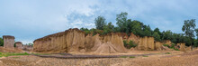 Phae Muang Phi Forest Park Panorama, Phrae, Thailand, Soil Erosion Landmark Becames The Tourism Place