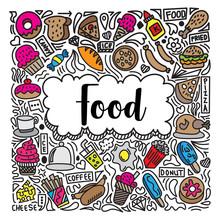 Colorful Food Doodle Illustrat...
