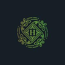 Luxury Eco Leaf Florish Logo Template, Letter H Icon Symbpl Vector Illustration