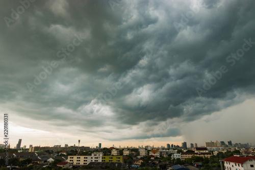 Windstorm, Sky grey-cloud. Wallpaper Mural