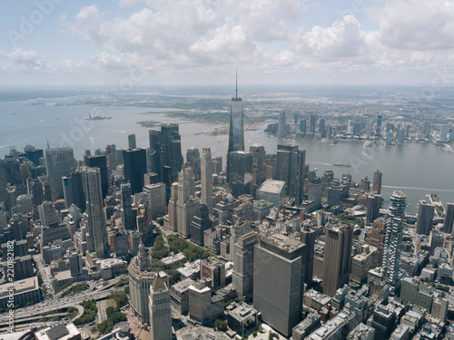 Photo Drone Aerial Shot World Trade Center City View Beautiful NYC New York