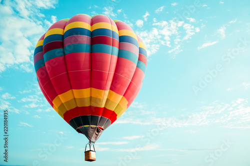 Vintage colorful hot air balloon flying on sky. travel and air transportation concept - vintage and retro filter effect style. balloon carnival in Thailand