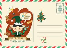 Christmas Postage Style Greeting Card.