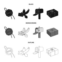 Wax Seal, Postal Pigeon With Envelope, Mail Box And Parcel.Mail And Postman Set Collection Icons In Black,monochrome,outline Style Vector Symbol Stock Illustration Web.