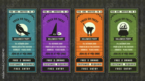 Obraz Halloween invitation collection retro style collection. - fototapety do salonu