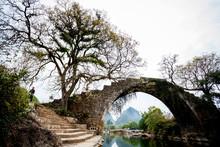 Old Bridge On Dragon River In Yangshuo China