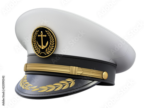 Fényképezés Navy captain hat isolated on white background