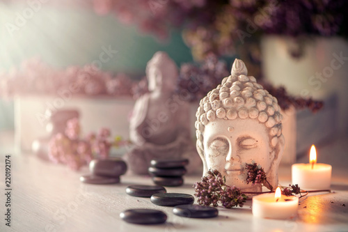 Hot stones and meditation still life backround