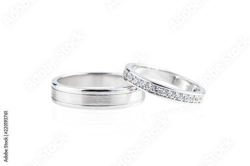 Silver wedding rings isolated on white