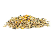 Pile Of Mixed Bird Food Isolated On White Background