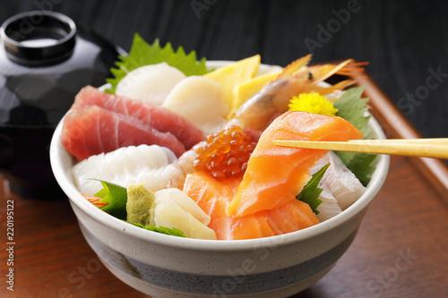 海鮮丼 Bowl of rice topped with sashimi. Japanese food.