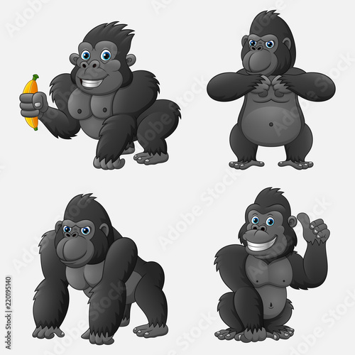 фотография Set of gorilla cartoon with different poses and expressions