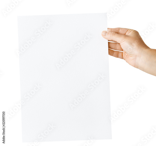 Obraz hand holding blank paper isolated - fototapety do salonu